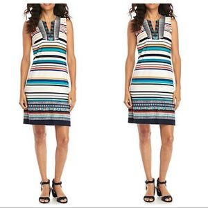 Madison Leigh Embroidered Striped Shift Dress